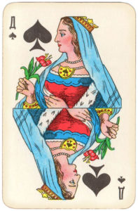 Atlasnye Pervyj Nomer Soviet Union Playing Cards – Queen of spades