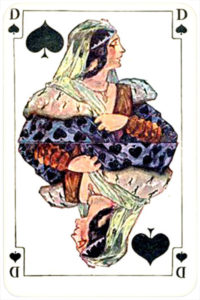 August Denk and Co Austria Allerfeinste Patience and Whist – Queen of spades