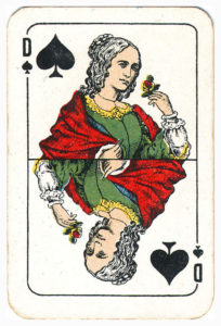 Cartes Patience by Van Genechten Portrait non standard – Queen of spades
