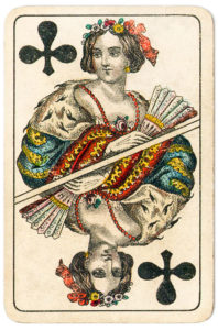J Glanz cards from Austria 19th century Queen of Clubs