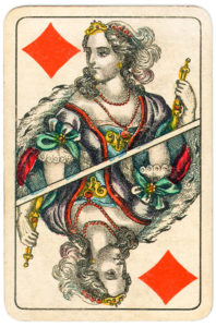J Glanz cards from Austria 19th century Queen of Diamonds