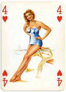 Pinup cards by Piatnik Baby Dolls from 1956 Four of hearts