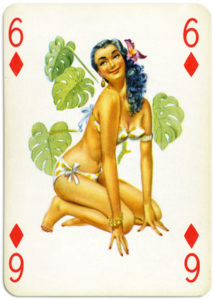 Pinup cards by Piatnik Baby Dolls from 1956 Six of diamonds