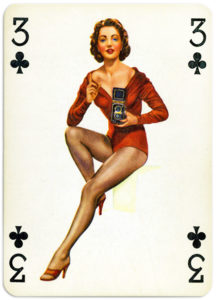 Pinup cards by Piatnik Baby Dolls from 1956 Three of clubs