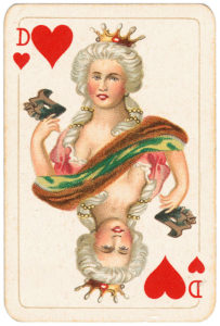 Rare pattern of baroque cards by Piatnik Queen of hearts