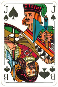 Skat cards two mixed patterns German and English by Carta Mundi Belgium – Jack of spades