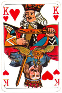 Skat cards two mixed patterns German and English by Carta Mundi Belgium – King of hearts