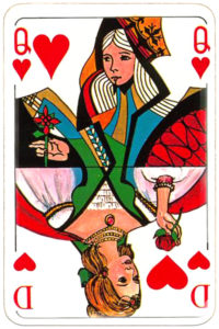 Skat cards two mixed patterns German and English by Carta Mundi Belgium Queen of hearts