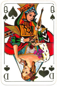 Skat cards two mixed patterns German and English by Carta Mundi Belgium Queen of spades