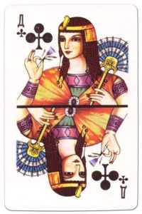 Souvenir historic cards from Russia Queen of clubs