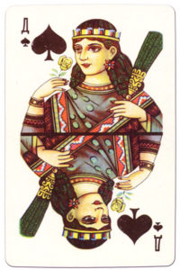Souvenir historic cards from Russia Queen of spades