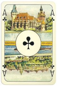 Ace of clubs card from Magyar Kiralyok Romi deck