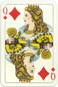 Classic playing cards Karty do gry by Trefl Poland – Queen of diamonds