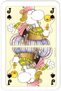 Guillermo Mordillo Argentinian artist cartoon cards Patience Germany Heye Verlag – Jack of spades
