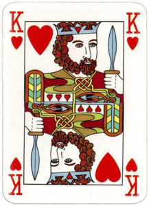 Irish deck made by Carta Mundi for Ireland motifs from early Irish manuscripts and metalwork – King of hearts
