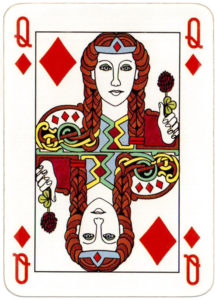 Irish deck made by Carta Mundi for Ireland motifs from early Irish manuscripts and metalwork – Queen of diamonds