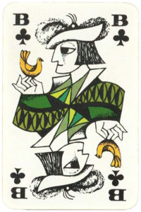 Jack of clubs card Essay Coeur by graphic artist Hannelore Heise
