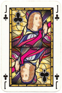 Jack of clubs card picture Old Krakow stained glass