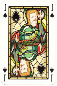 Jack of spades card picture Old Krakow stained glass
