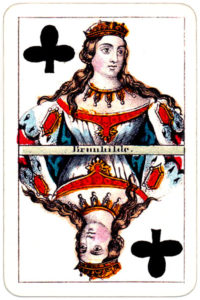 Joseph Glanz Historical Theatrical vintage playing cards from Austria – Queen of clubs
