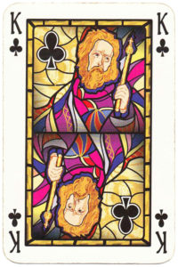 King of clubs card picture Old Krakow stained glass