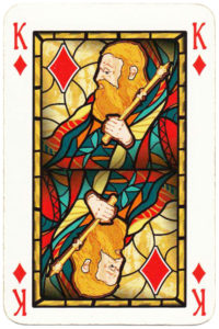King of diamonds card picture Old Krakow stained glass