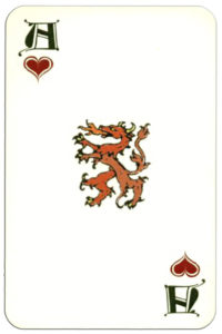 Gutenberg deck designed by Roland Goulsbra publisher Wordsimages – Ace of hearts