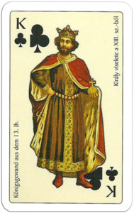 Hungarian clothing in medieval ages Magyar Viseletek A Kozepkorban – King of clubs – King clothing from XIII c
