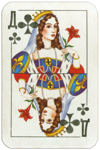Karty Atlasnye remake Russia – Queen of clubs