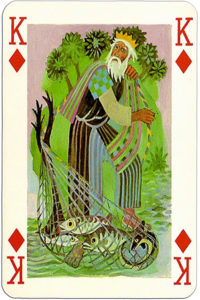 Knights of the round table Grimaud France design by Jean Bruneau Fisher – King Amfortas – King of diamonds 1
