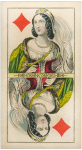 Vintage Queen of diamonds card with a white vail Knepper Tarock cards