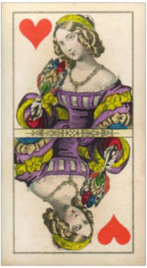 Vintage Queen of hearts card with a feather fan Knepper Tarock cards