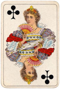 Vintage playing cards published by Öberg Swedish pattern Prima Spelkort – Queen of clubs