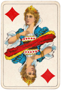 Vintage playing cards published by Öberg Swedish pattern Prima Spelkort – Queen of diamonds