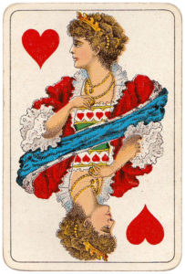 Vintage playing cards published by Öberg Swedish pattern Prima Spelkort – Queen of hearts