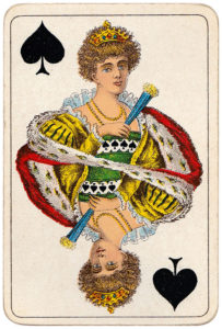 Vintage playing cards published by Öberg Swedish pattern Prima Spelkort – Queen of spades