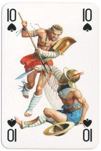 #PlayingCardsTop1000 – 10 of spades from Gladiators deck designed by Severino Baraldi