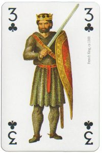 #PlayingCardsTop1000 – 3 of clubs Modiano deck Middle Ages