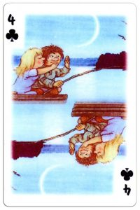 #PlayingCardsTop1000 – 4 of clubs Trolls cartoons playing cards by Rolf Lidberg