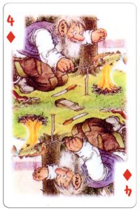 #PlayingCardsTop1000 – 4 of diamonds Trolls cartoons playing cards by Rolf Lidberg