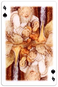 4 of spades Trolls cartoons playing cards by Rolf Lidberg