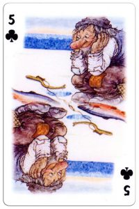 5 of clubs Trolls cartoons playing cards by Rolf Lidberg