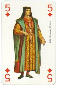 #PlayingCardsTop1000 – 5 of diamonds Renaissance clothes card