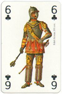 6 of clubs Renaissance clothes card