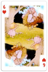 6 of hearts Trolls cartoons playing cards by Rolf Lidberg