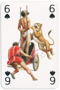 6 of spades from Gladiators deck designed by Severino Baraldi
