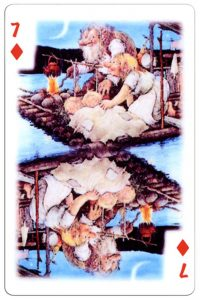 7 of diamonds Trolls cartoons playing cards by Rolf Lidberg