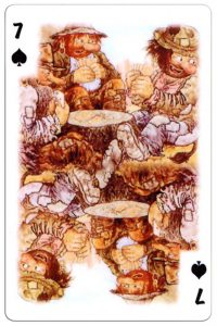 7 of spades Trolls cartoons playing cards by Rolf Lidberg