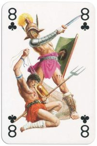 #PlayingCardsTop1000 – 8 of clubs from Gladiators deck designed by Severino Baraldi