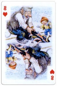 #PlayingCardsTop1000 – 8 of hearts Trolls cartoons playing cards by Rolf Lidberg
